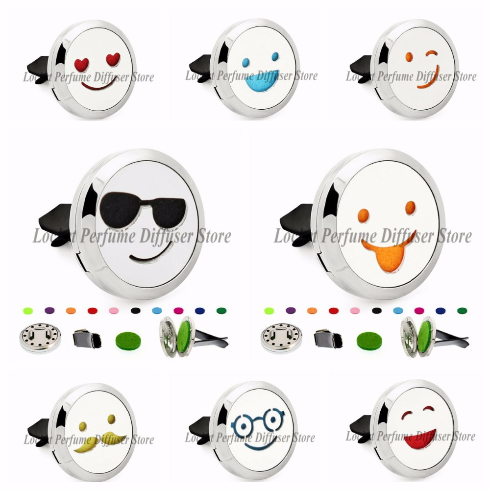 Face expression 30mm Magnet 316L Stainless Steel Removable Aromatherapy Perfume Car Diffuser Locket Vent Clip 10 Pcs Pads