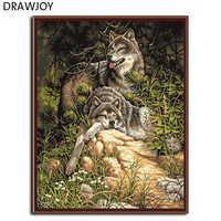Hot Selling Frameless Wolf Animals DIY Painting By Numbers Wall Art Acrylic Picture Canvas Hand Painted