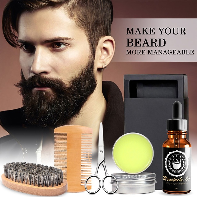Men Beard Kits Grooming Beard Set 5pcs/set Beard Oil Moisturizing Wax Comb Essence Styling Scissors Hair Men Beard Sets 2