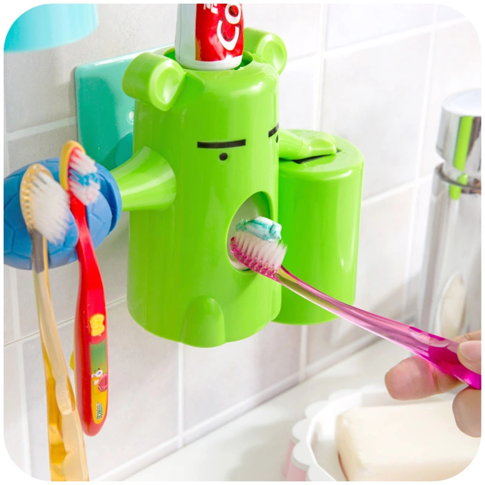 Kids bathroom designs 2016 - 2016 Newest Products Cute Design Set Cartoon Bear Toothpaste Dispenser Automatic Kids Bathroom Set With Cup
