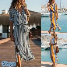Summer Dresses 2019 New Women Summer Casual Short Sleeve Turn-down Collar High Waist Loose Striped Split Dress
