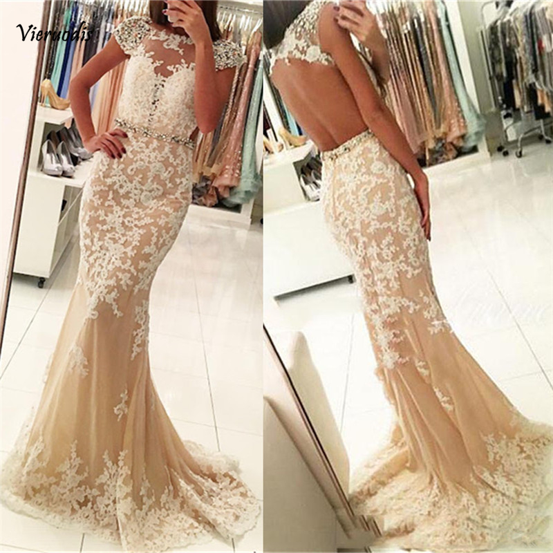 vestidos de gala New Elegant Prom Dresses Long Appliques Tulle Evening Dress Mermaid Backless 2019 in Evening Dresses from Weddings Events