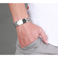 Free Engraving Mens Bracelets Stainless Steel Double Link Chain ID Tag Identification Bracelet Chunky Heavy Fashion