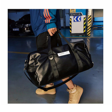Personality Mens Black Sports Bag PU Leather Simple Multi-function Large Capacity Fitness