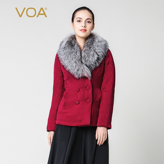 VOA 2017 Winter Fox Fur Collar Middle Aged Women Plus Size Warm ...