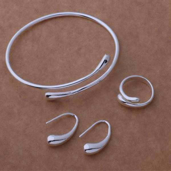 AS093 Hot 925 sterling  silver Jewelry Sets Earring 172 + Ring 248 + Bangle 039 /adxaivea akkajbra