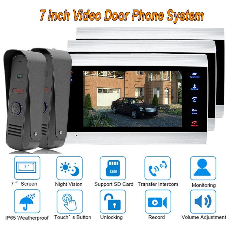 Nouveau système de sonnette d'interphone de porte vidéo moniteur de caméra de sécurité à domicile avec écran TFT 7