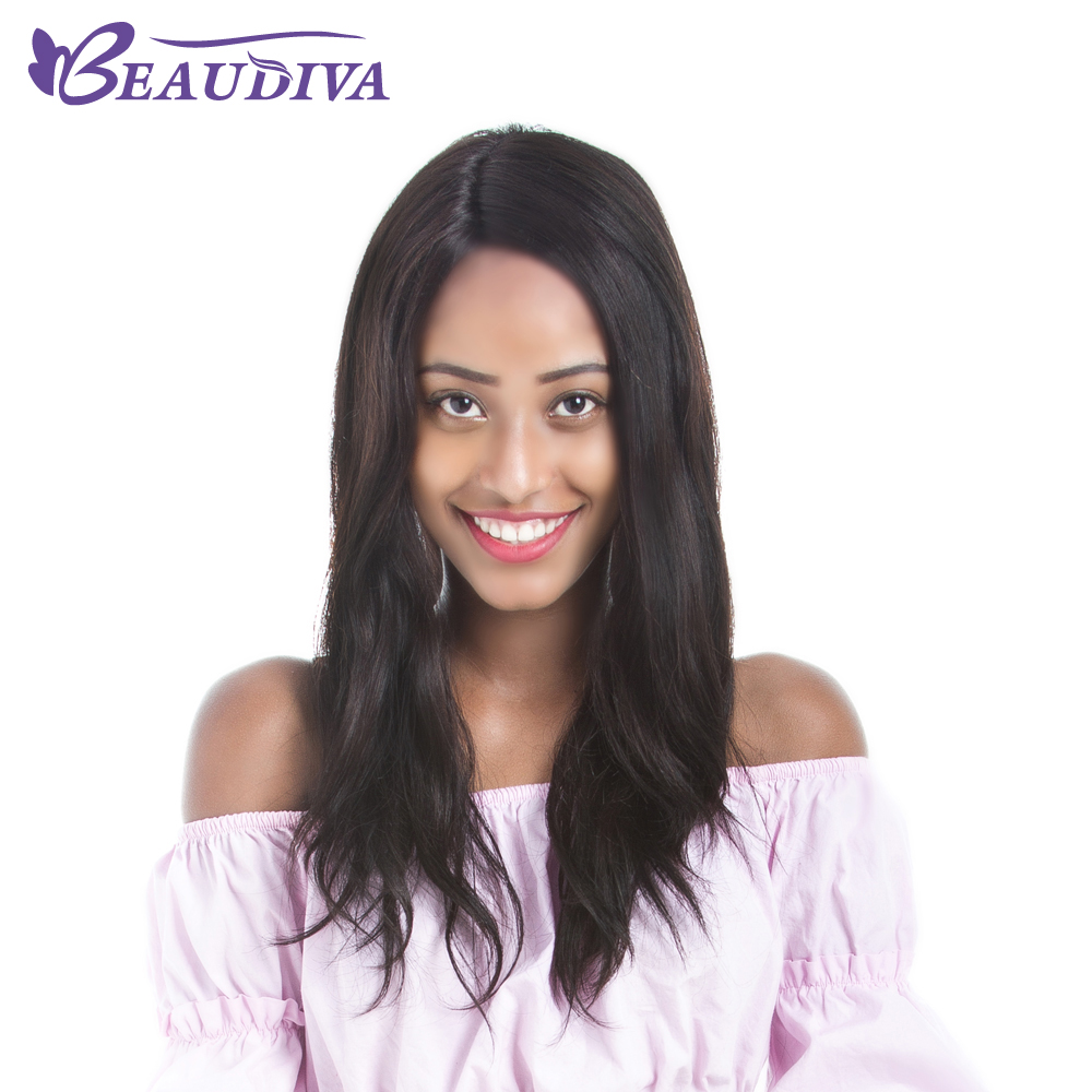 BEAUDIVA Hair Products Lace Front Human Hair Wigs 18inch Long Natural Wavy Wigs For Black Women Natural Color Free Shipping