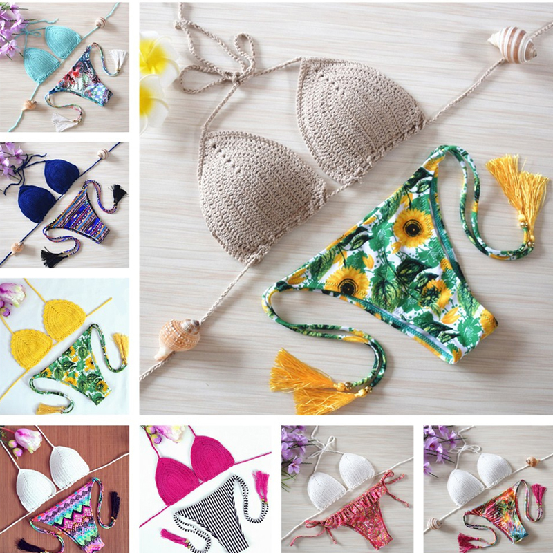 2018 bikinis Swimwear Bathing Suit sexy push up Crochet bikini Handmade Swimsuit Brazilian bikini swimming suit swimwear women