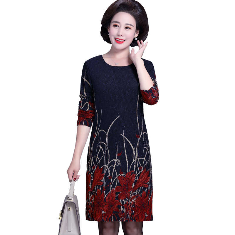 21224dcf27 Elegant Middle Aged and Old Women's Autumn Dress Long Sleeve 40 50 ...