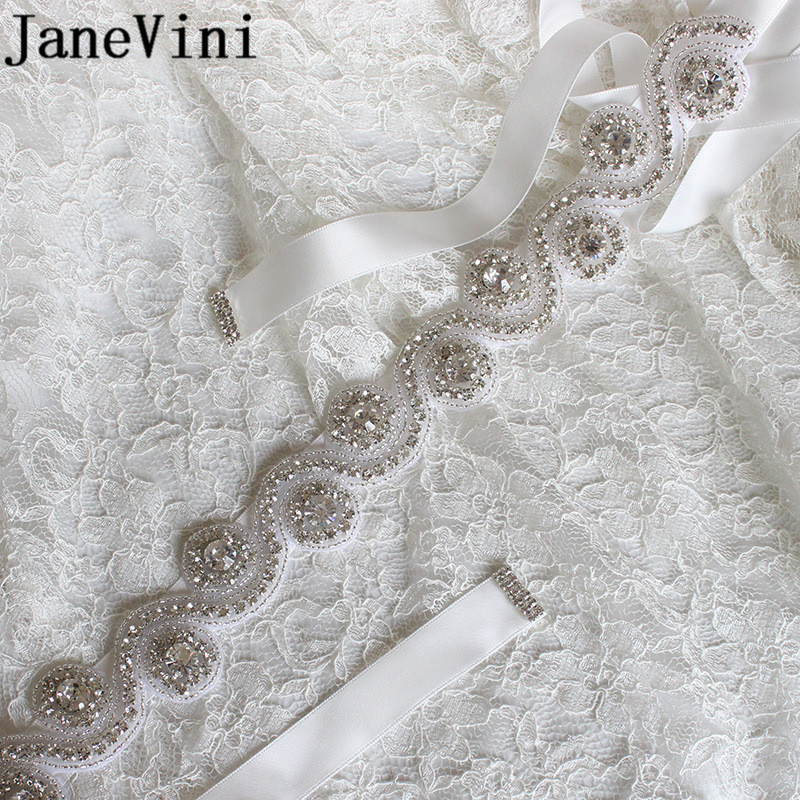 JaneVini Luxury Bridal Dress Belt With Stones Silver Crystal Rhinestones Ribbon Wedding Belts Sashes Women's Wedding Belt Bride