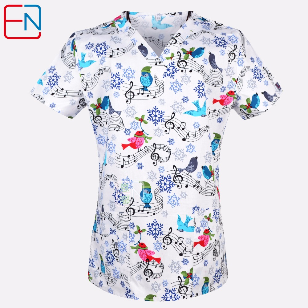 new 201803 hennar brand medical scrub tops surgical scrubsscrub uniform 100 print cotton christmas design medical uniforms in scrub tops bottoms from