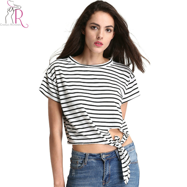 bb0fc807265 Black and White Stripe Tie Front Cropped T-shirt Sumemr Hollow Out Short  Sleeve Round Neck Casual Cotton Women Tee Top