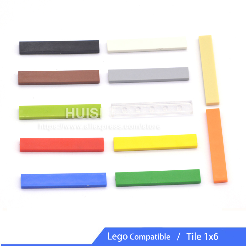 Compatible With LEGO Parts Tile Pieces 1x6 Creative Building Bricks Sets Plastic Blocks DIY Toys For Children Educational 50pcs