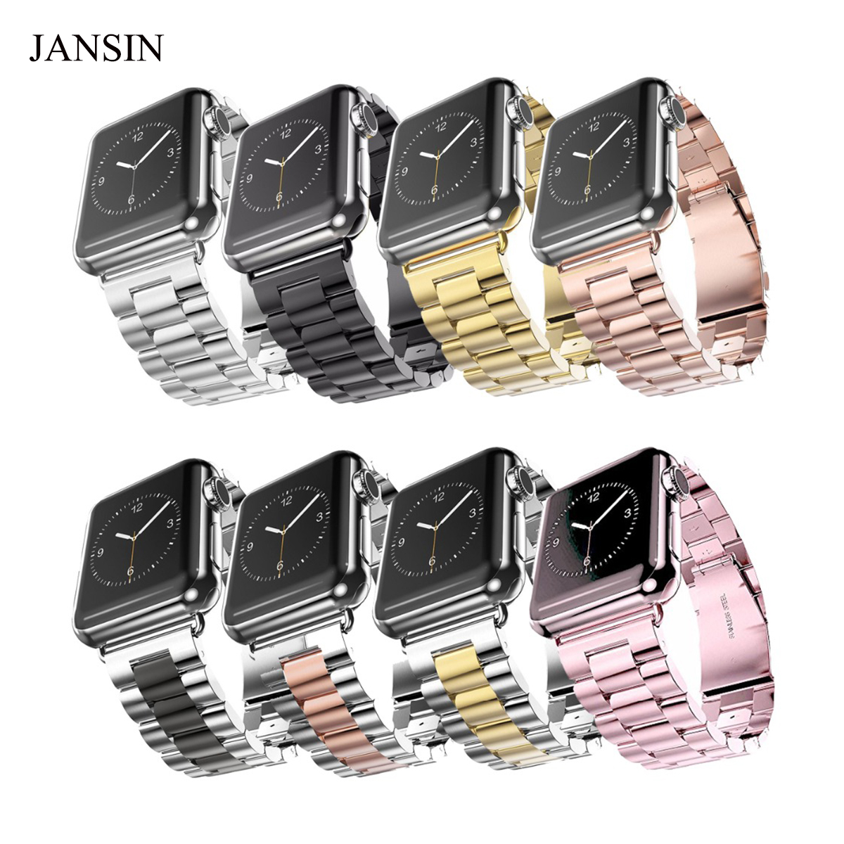 For Apple Watch Band, JANSIN Stainless Steel Metal Watch Strap Replacement iWatch Strap for Apple Watch 38mm/42mm Series 3 2 1 luxury ladies watch strap for apple watch series 1 2 3 wrist band hand made by crystal bracelet for apple watch series iwatch