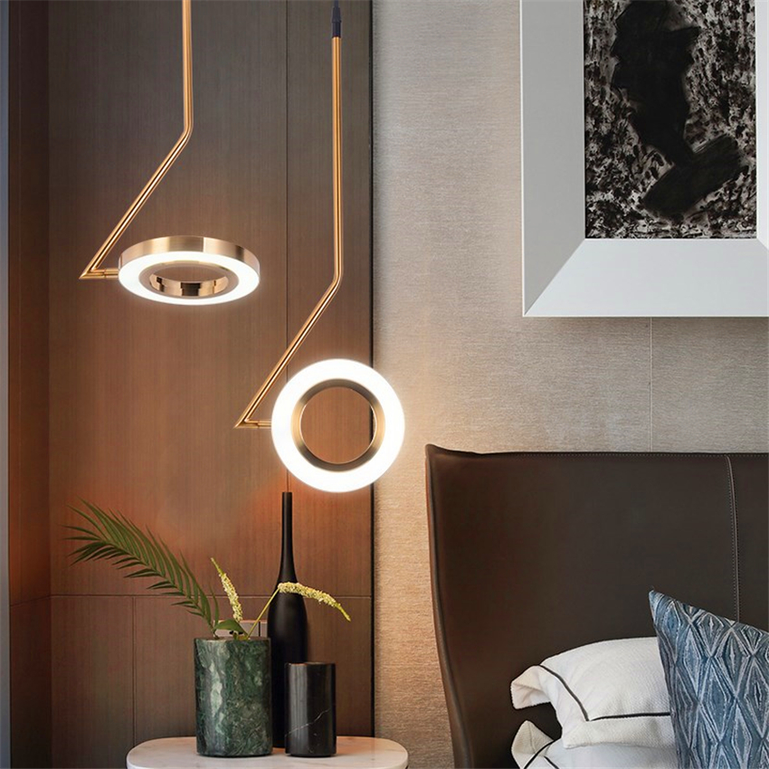 Nordic Designer Lamps Pendant Lamps LOFT Bedroom Bedside Restaurant LED Chandelier Lighting Luminaria Bar Brass Kitchen