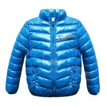 Зимние Мальчики Девочки 100 Хлопок Твердые Теплые Куртки Дети Водолазка Одежда Зимние Пальто Синий 3 Т = 100 СМ