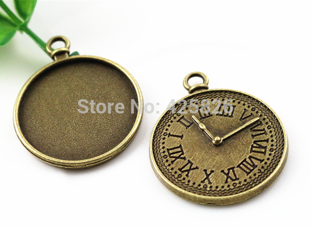 New Fashion 5pcs 25mm Inner Size Antique Bronze Clock  Cabochon Base Setting Charms Pendant (A3-16)