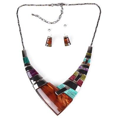 MS20101 Модный Ювелирный Набор, бронзовое покрытие, яркие цвета, высокое качество, женское ожерелье, серьги, набор, свадебные ювелирные изделия - Окраска металла: Multicolor