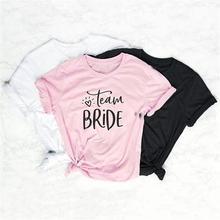New Fashion Short Sleeve Cotton T-Shirt For Women Team Bride Letters Print T-Shirt Harajuku