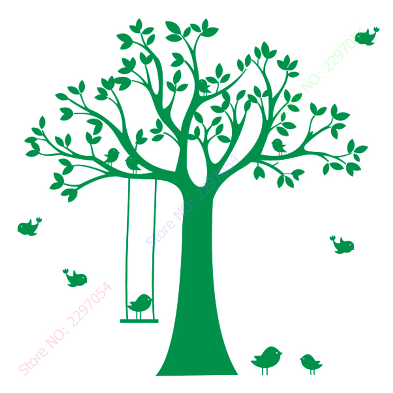 Baby Nursery Tree Wall Sticker Swing Birds Tree Wall Decals for - Home Decor - Photo 6