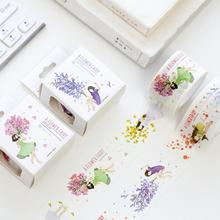 JUKUAI 1Pcs Flowers Elf Girl&Cat Washi Tape DIY Decorative Scrapbooking Planner Masking Tape Adhesive Tape Stationery Supplies16