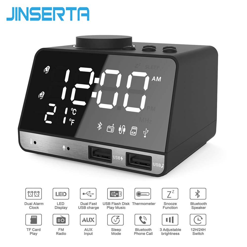 JINSERTA LED FM Radio Wireless Bluetooth Music Player Support Alarm Clock Function USB Charge Port Temperature Display цена