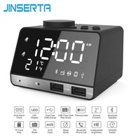 JINSERTA LED FM Radio Wireless Bluetooth Music Player with MIC for Hansfree Support TF Card USB Charge Port Temperature Display
