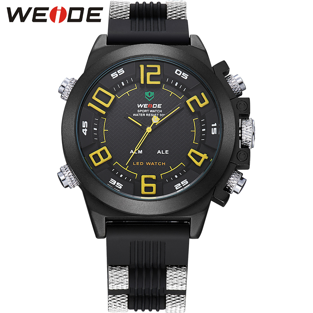 WEIDE Silicone Digital LED Alarm Date Day Watch Men Sports Multi function Dual Time Zones Display Black Band Buckle For Male Man weide men sports watch quartz digital lcd display stopwatch silicone strap buckle date black dial military wristwatches for man