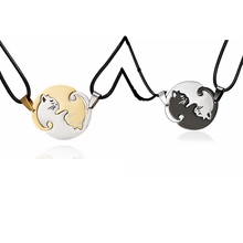 Rinhoo Couples Jewelry animal Necklaces Gold Silver Couple Necklace Titanium Steel cat Epacket free Dropshipping