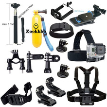 Zookkbb Accessories Kit Monopod Floating Grip Head strap Chest strap Backpack Clip Bike Handlebar Holder for Gopro Hero4 3+ 3