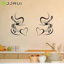 JJRUI 2 кофейные чашки кухня настенные стикеры виниловые Искусство Наклейки кафе Закусочная сердца DIY переводки украшение для дома