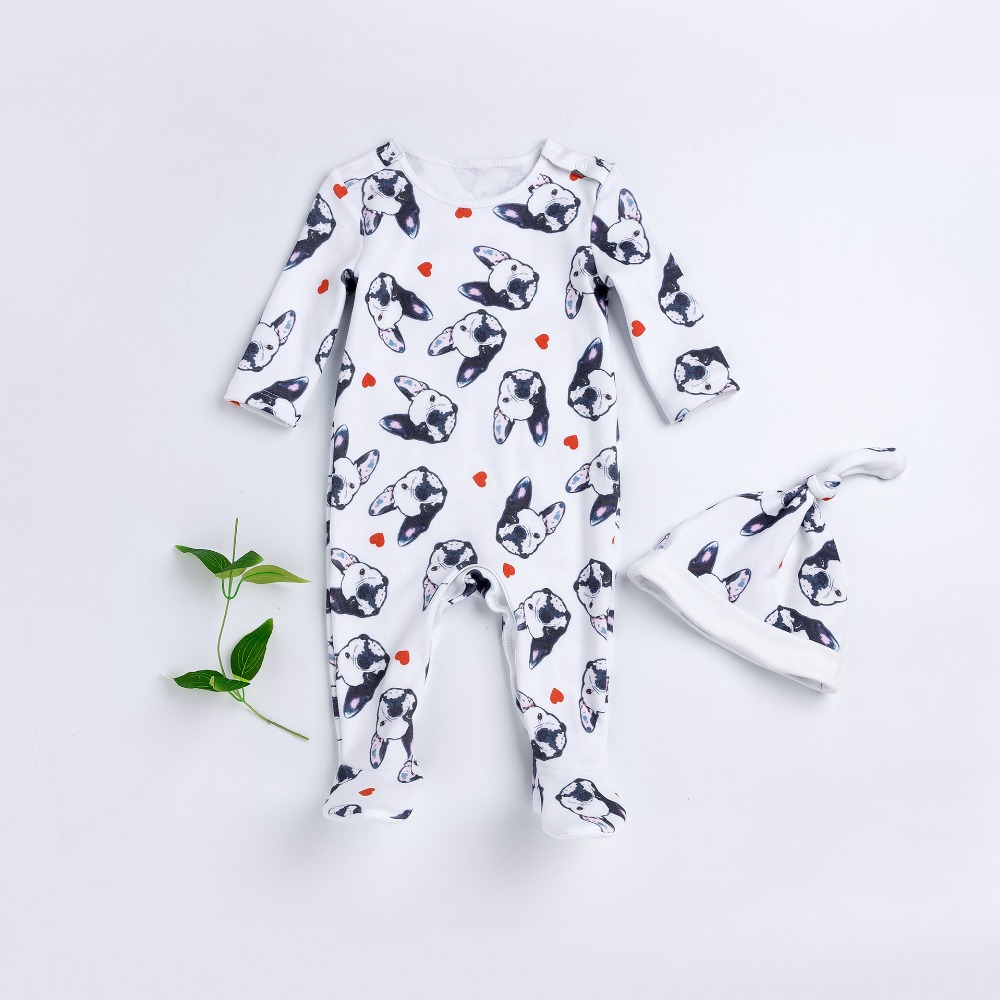 2017 Autumn baby girls boys cotton printed cartoon dog rompers hat set spring infant casual clothes kids soft jumpers 17S907