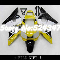 Injection 100%new yellow white black Fairing kit for YZF R6 98 02 YZF R6 98 99 00 01 02 YZF 600 R6 1998 2002 ABS fairing