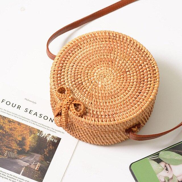 FEMALEE Circular Casual Rattan Bag 2019 Ins Summer Purse Handmade Bali Beach Shoulder Bow Bags Woven Bohemian Handbag Sac A Main 2