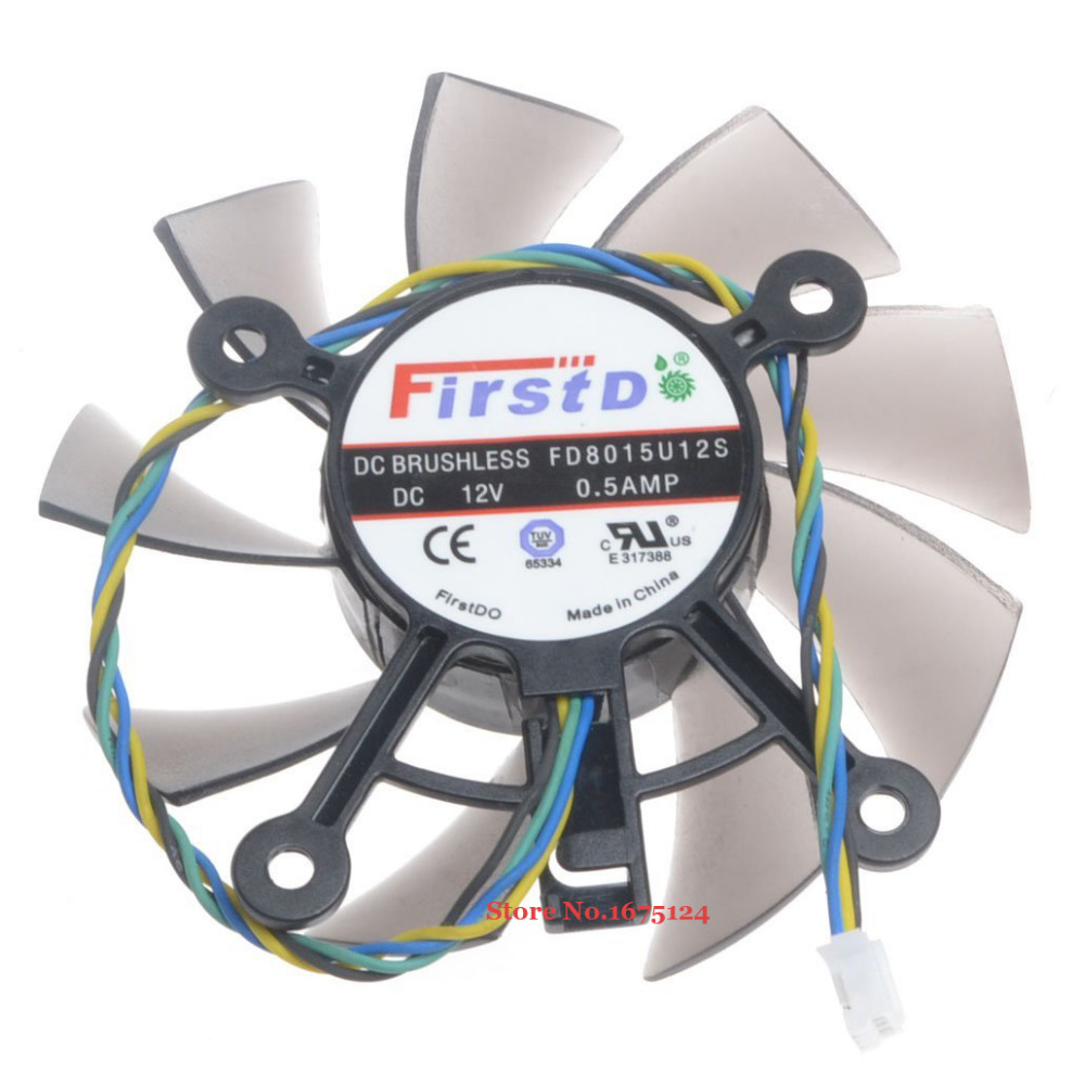 hight resolution of fd8015u12s 75mm dc 12v 0 5a 4 wire computer cooler fan radiator for radeon hd 7770 8600 9800g video graphics card cooling