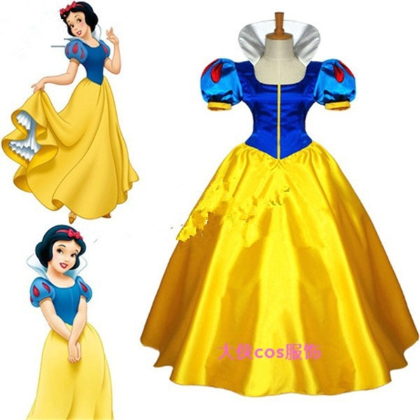 Original Princess Snow White Cinderella Dresses Costumes: Hot Anime Snow White Princess Cinderella Cosplay Blue