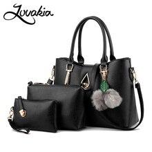 LOVAKIA 2017 Women Bags Set Leather Handbag Women Casual Travel Bags Ladies Brand Designer Bag Handbag+Messenger Bag+Purse 3 Set