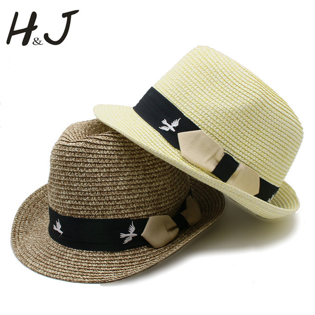 3ee320930d6878 Summer Women Men Straw Beach Sun Hat For Elegant Lady Embroidery Bird  Sunbonnet Fedora Cap Gentleman Boater Panama Hat