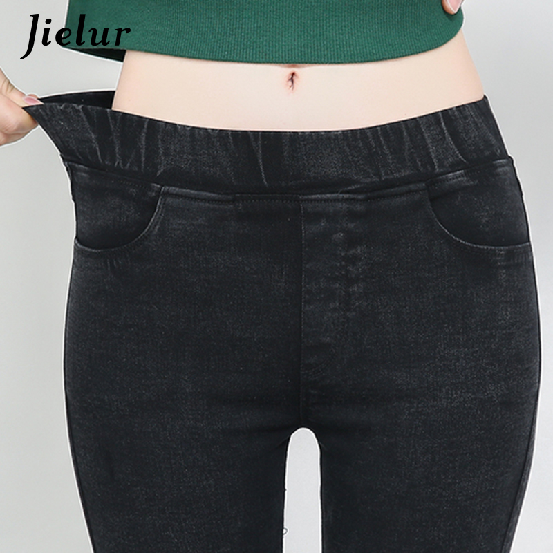 Jielur 2019 Casual Women's   Pants   Korean Plus Size Pencil   Pants   Solid Color Stretch Trousers Vintage Ladies   Capris   S-3XL Dropship