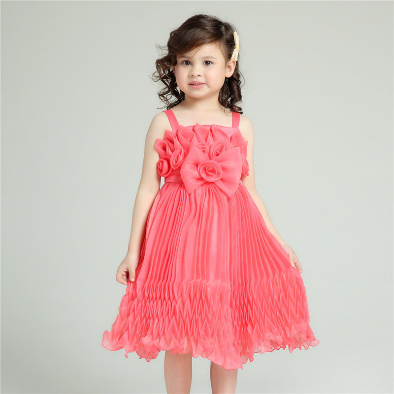 Formal Girl Dresses Children Pink Bow Princess Vestidos 2017 Summer Kids Clothes For Girls Of 2 3 4 5 6 7 8 9 10 Years AKF164072 populous baby kids girls clothes princess black short fashion summer cool solid partytulle dresses 2 3 4 5 6 7 years