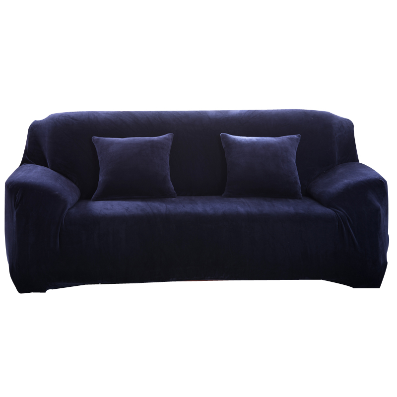 Simpe Solid Sofa Covers <font><b>Sectional</b></font> Sofa Cases Stretch Elastic Flannel <font><b>Fabric</b></font> Couch Cover Single Two Three Four Seats Slipcovers
