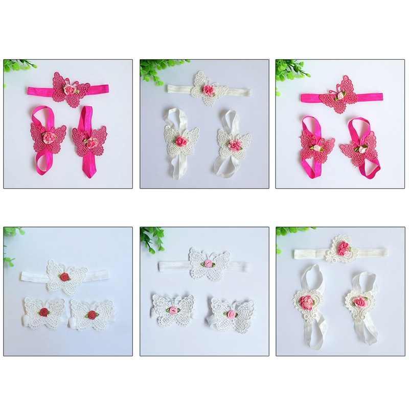 a69bb7216f5 ... 3Pcs/set Baby Girls Infant Crochet Butterfly Headband Newborn Knitted Flower  Barefoot Sandals Set Beauty ...