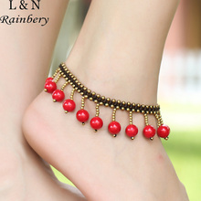Rainbery Vintage Bohemian Anklets For Women Copper Beads Red Beads Anklet Handmade Weave Ethnic Party Accessories JA0061