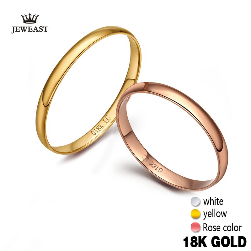 18k Pure Gold Ring For Lover Hot Smooth Elegant Propose Got Engaged Wedding Party Classic Unisex Women Men Girl New Customize
