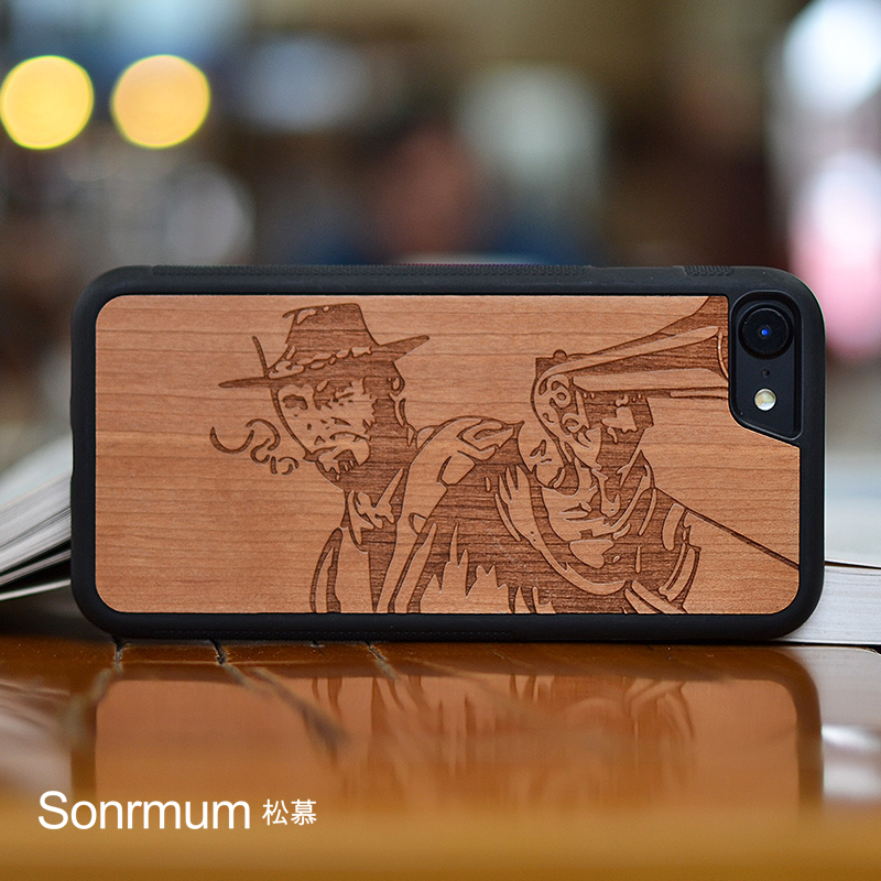 Gunner Carved Natural Wood Nytt merke Tynn luksus Individuation ekte tre telefonveske for Iphone X 6 S 7 8 Pluss tre skall