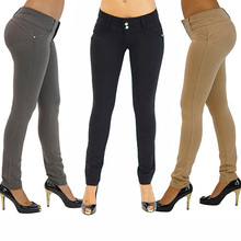 Women Sexy Solid Color Button Skinny Stretchy Leggings Treggings Pants Trousers