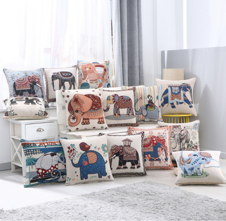 Carton Elephant Pattern Lumbar Pillow Embroidered Cushion Cover Car Home Sofa Decorative Cojines Pillowcase Children Gifts