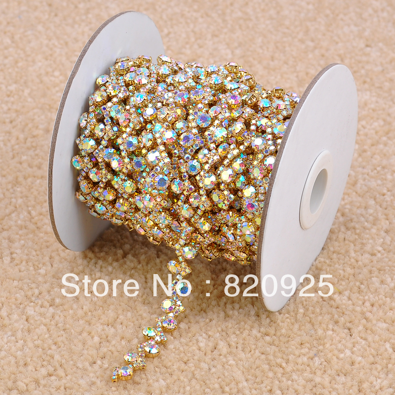 1 Yard Stunning Crystal AB Rhinestone Golden Bridal Dress Costume Trim Applique R2042F03