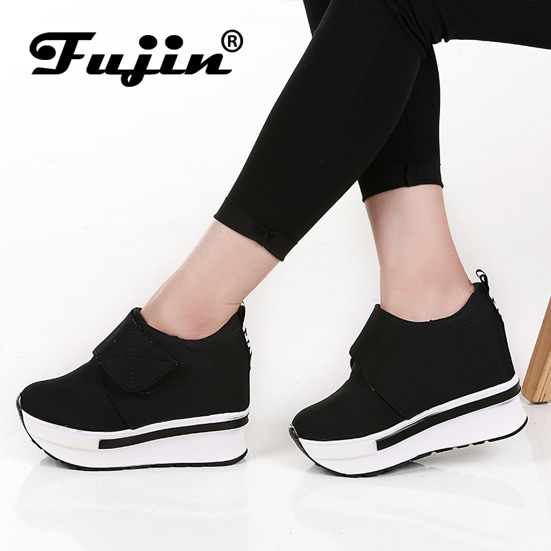 Fujin Brand Women Wedge casual shoes Platform Lace Up High heel Shoes Spring Autumn Hidden Heel Lady Sneakers Slip On Pumps allbitefo 2018 new spring horsehair thick heel lace up women pumps low heeled platform casual women shoes office high heel shoes